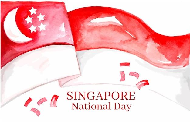 手描きの水彩画のシンガポール建国記念日イラスト