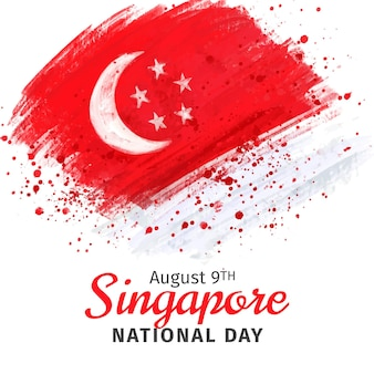 Hand painted watercolor singapore national day illustration