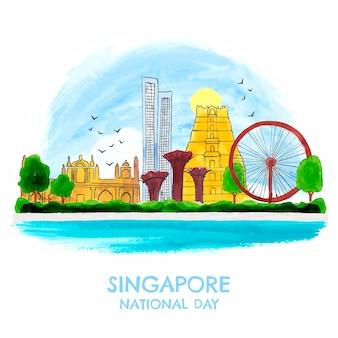 手描き水彩シンガポールナショナルデーイラスト