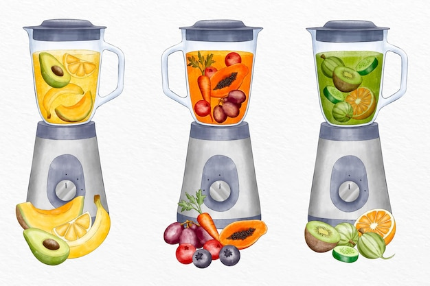 Hand painted watercolor smoothies in blender glass illustration