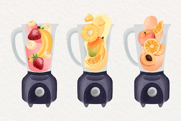 Hand painted watercolor smoothies in blender glass