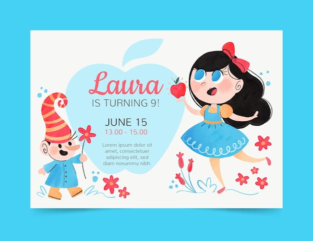 Hand painted watercolor snow white birthday invitation