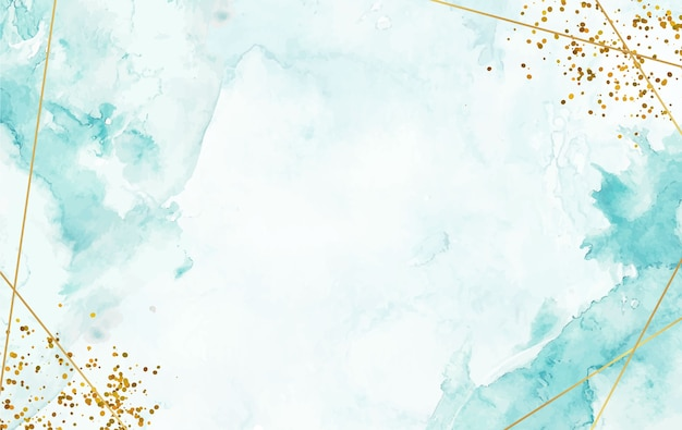 Hand painted watercolor splash background with gold line and sparkle