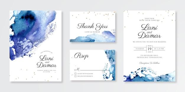 손으로 그린 수채화 스플래시 아름다운 결혼식 초대 카드 템플릿