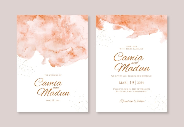 Hand painted watercolor splash for wedding invitation template