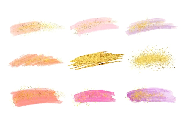 手描きの水彩画の染みとゴールドとキラキラのブラシストローク