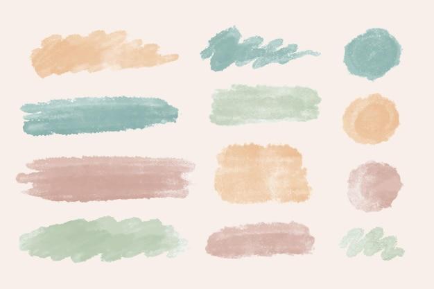 手描きの水彩画の染みとブラシストローク
