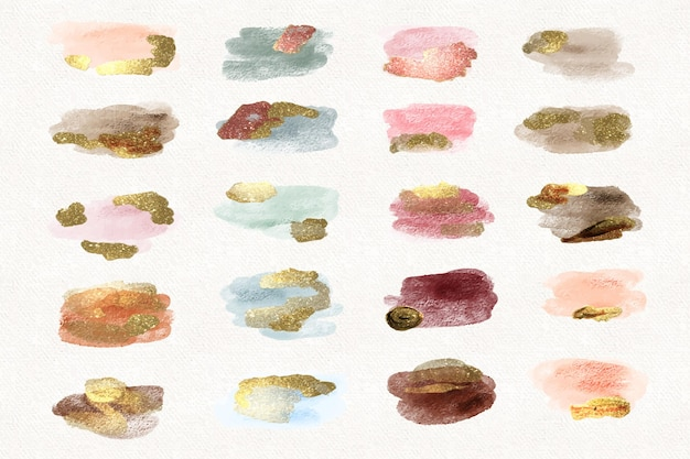 Hand painted watercolor stains with gold and glitter