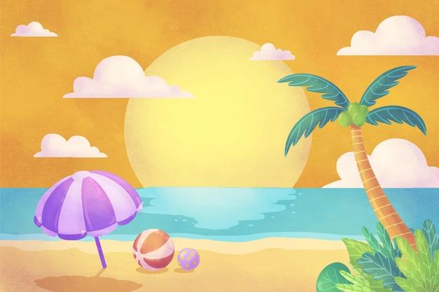 Ручная роспись акварелью летний фон для видеозвонков