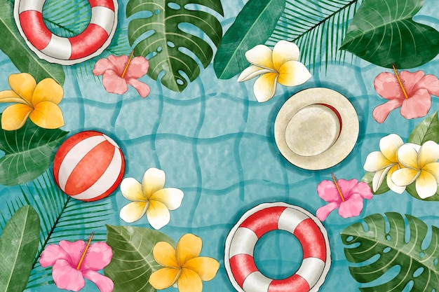 ビデオ通話のための手描きの水彩画の夏の背景
