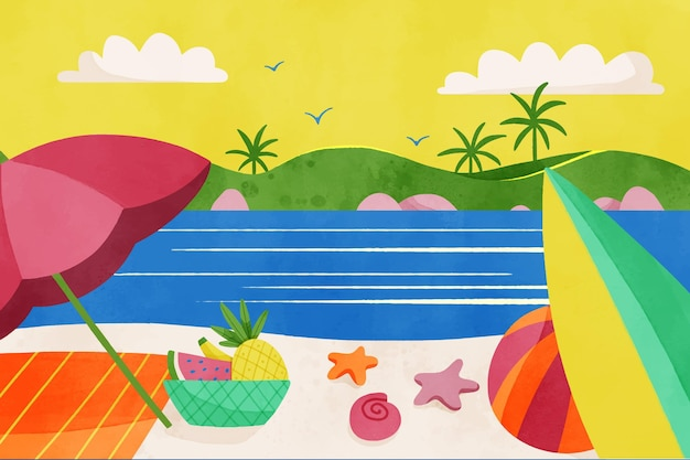 Hand painted watercolor summer background for videocalls