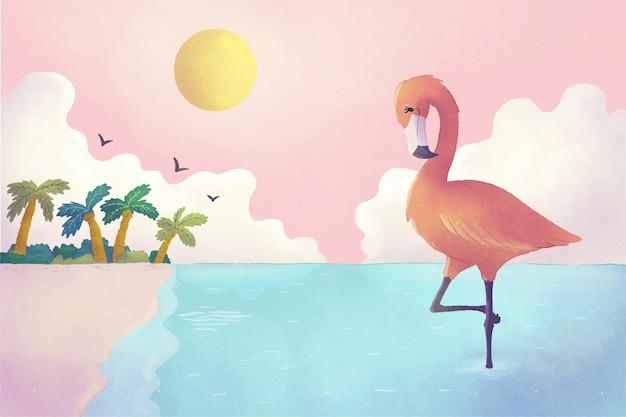 手绘水彩夏天背景的被绘的水彩夏天背景