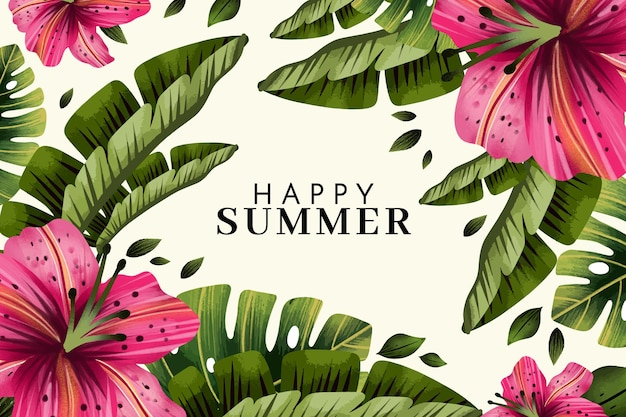 Hand painted watercolor summer background
