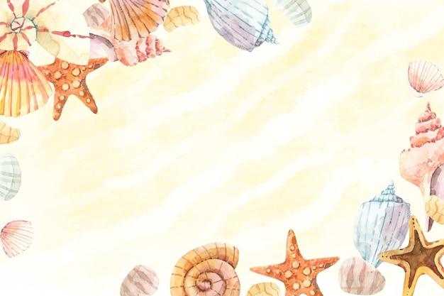 손으로 그린 수채화 여름 배경