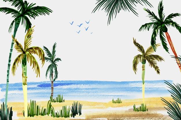 Sfondo estate acquerello dipinto a mano