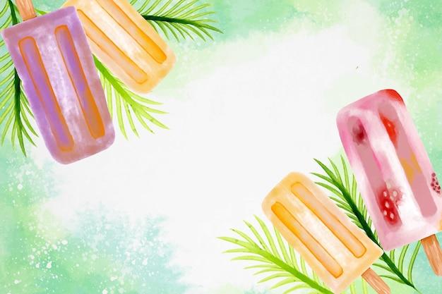 手描きの水彩画の夏の背景