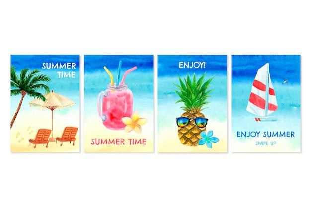 Collezione di carte estive dell'acquerello dipinto a mano Vettore gratuito