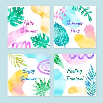 手描きの水彩画の夏のカードコレクション