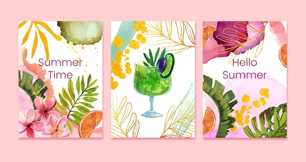 Hand painted watercolor summer cards collection