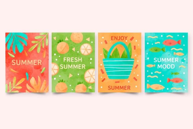 Collezione di carte estive dell'acquerello dipinto a mano