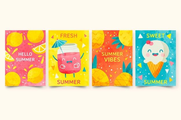 손으로 그린 수채화 여름 카드 컬렉션