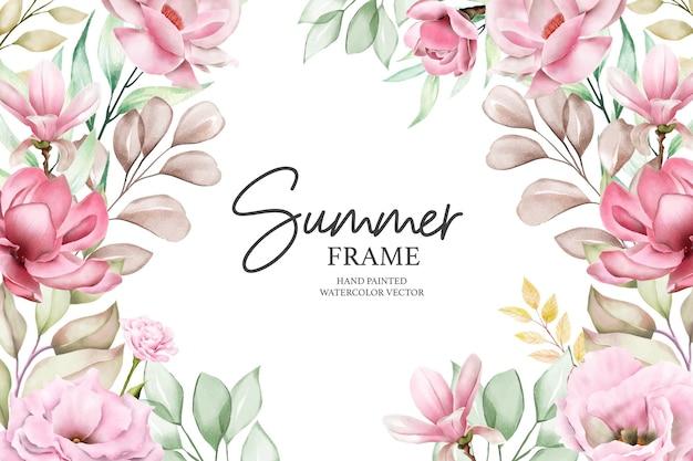 Ручная роспись акварель летняя цветочная рамка иллюстрации
