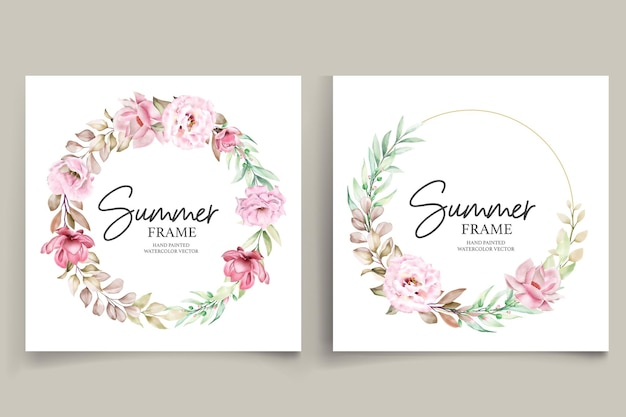 Hand painted watercolor summer floral frame illustration