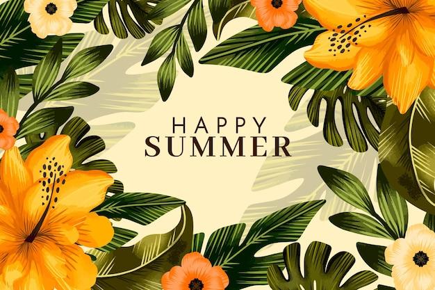 손으로 그린 수채화 여름 그림