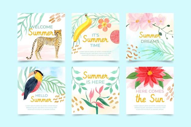 Collezione di post di instagram estivi ad acquerello dipinto a mano