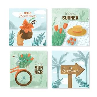 손으로 그린 수채화 여름 instagram 게시물 모음