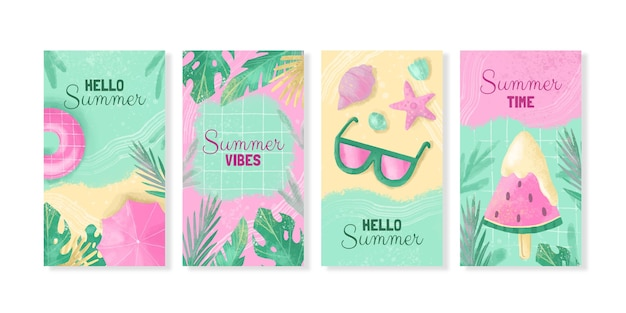 手描きの水彩画の夏のinstagramの物語のコレクション