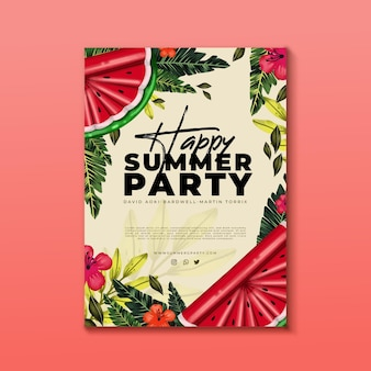 Hand painted watercolor summer party flyer template