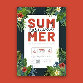 Hand painted watercolor summer party poster template