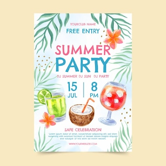 Hand painted watercolor summer party vertical poster template