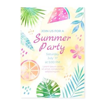 손으로 그린 수채화 여름 파티 수직 포스터 템플릿