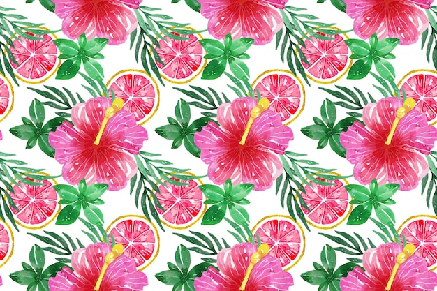 Hand painted watercolor summer pattern