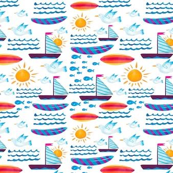 手描きの水彩画の夏のパターン