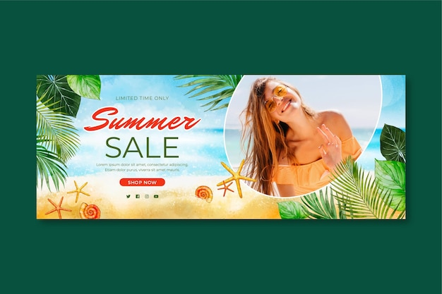 Hand painted watercolor summer sale banner with photo