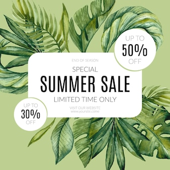 Hand painted watercolor summer sale illustration