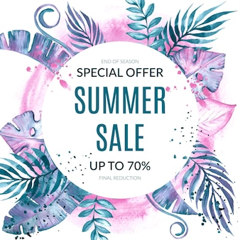 손으로 그린 수채화 여름 판매 그림