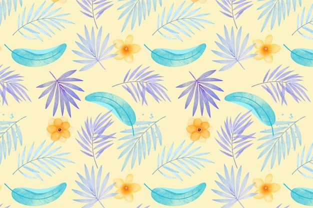 손으로 그린 수채화 여름 열대 패턴