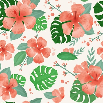 Hand painted watercolor summer tropical pattern