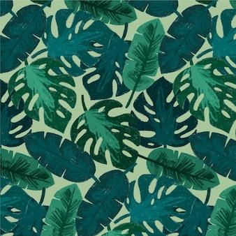 Ручная роспись акварелью летний тропический узор