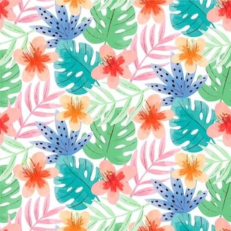 手描きの水彩画の夏の熱帯のパターン