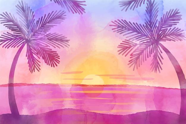 手描きの水彩画の夏