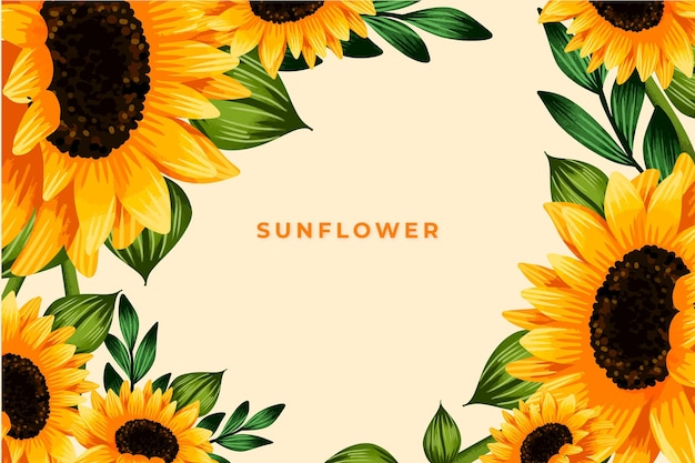 Hand painted watercolor sunflower border wallpaper