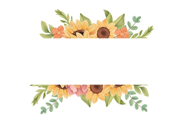 Hand painted watercolor sunflower border