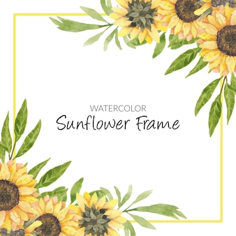 Hand painted watercolor sunflower floral frame