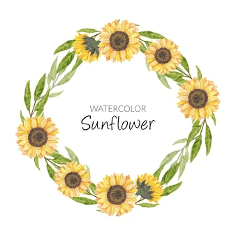 Hand painted watercolor sunflower wreath circle border