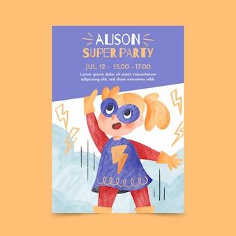 手描きの水彩スーパーヒーローの誕生日の招待状のテンプレート